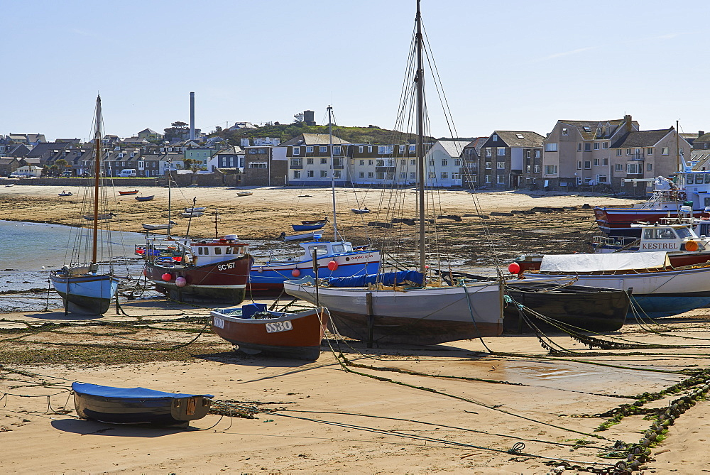A sunny day with boats in the harbour at Hugh Town, St. Mary's, Isles of Scilly, United Kingdom, Europe - 1295-260