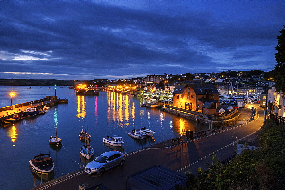 Boats and lights in the harbour of the popular fishing port of Padstow, Cornwall, England, United Kingdom, Europe - 1295-265