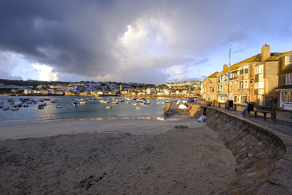 Early morning view across the harbour at the popular and scenic town of St. Ives, Cornwall, England, United Kingdom, Europe - 1295-283