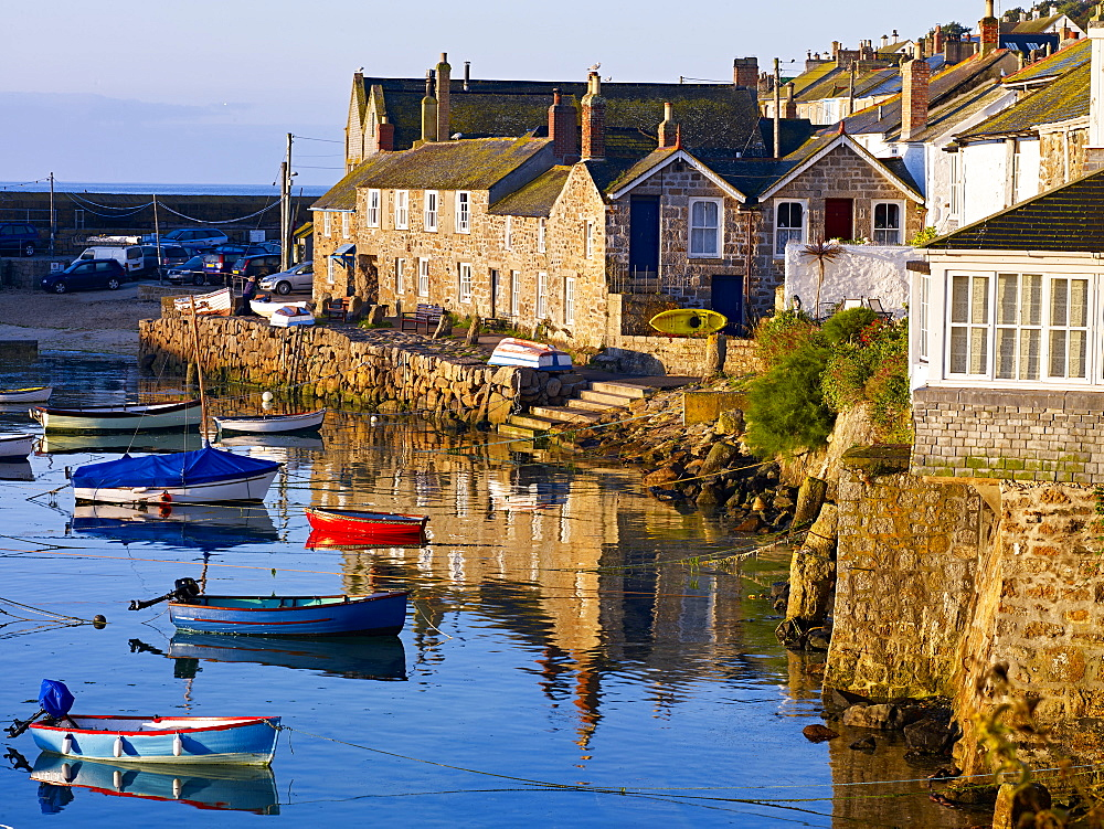 The picturesque fishing village of Mousehole, Cornwall, England, United Kingdom, Europe - 1295-288