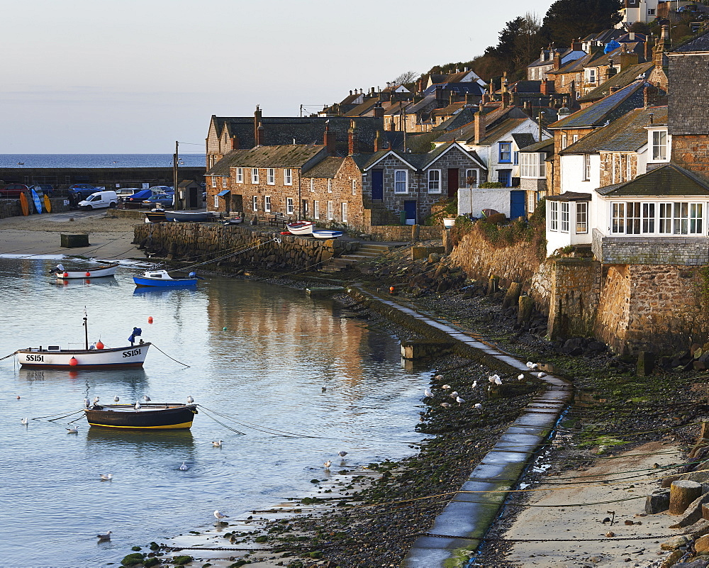 The picturesque fishing village of Mousehole, Cornwall, England, United Kingdom, Europe - 1295-290