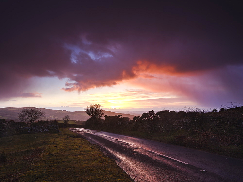 Moody winter sunrise in a hail shower at Bel Tor Corner, Dartmoor National Park, Ashburton, Devon, England, United Kingdom, Europe - 1295-33