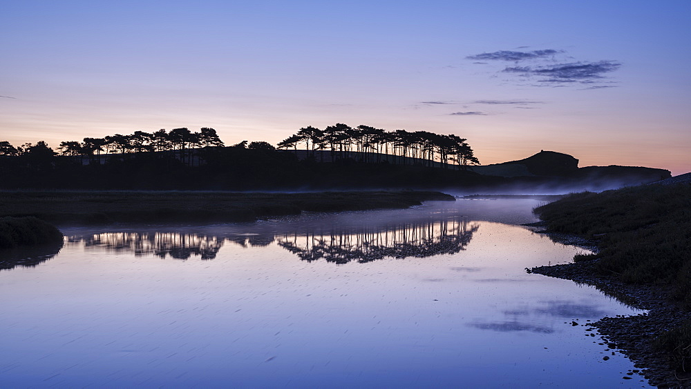 Twilight with a rising mist and perfect reflections on the River Otter at Budleigh Salterton, Devon, England, United Kingdom, Europe - 1295-36