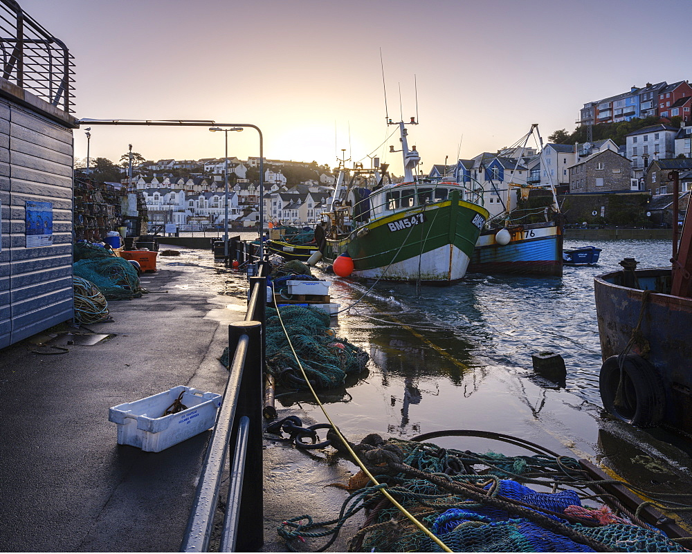 High tide at dawn in the harbour of the fishing port of Brixham, Devon, England, United Kingdom, Europe - 1295-56