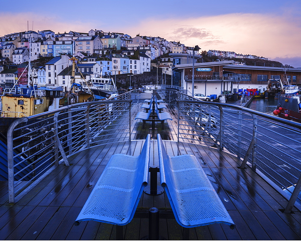 Wet teak decking and benches of the elevated nautical viewpoint for the harbour of Brixham, Devon, England, United Kingdom, Europe - 1295-58