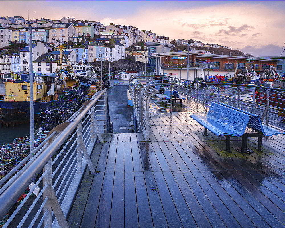 Wet teak decking and benches of the elevated nautical viewpoint for the harbour of Brixham, Devon, England, United Kingdom, Europe - 1295-59