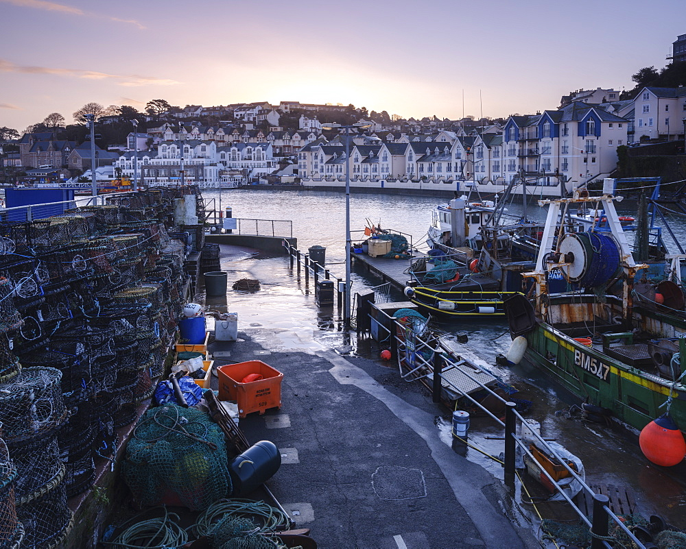 High tide at dawn in the harbour of the fishing port of Brixham, Devon, England, United Kingdom, Europe - 1295-60