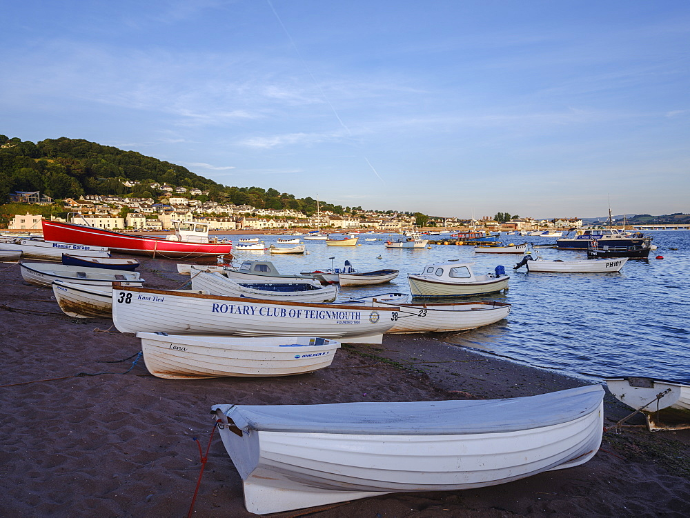 Boats at sunrise looking across Teign estuary to Shaldon at The Point, Teignmouth, Devon, England, United Kingdom, Europe