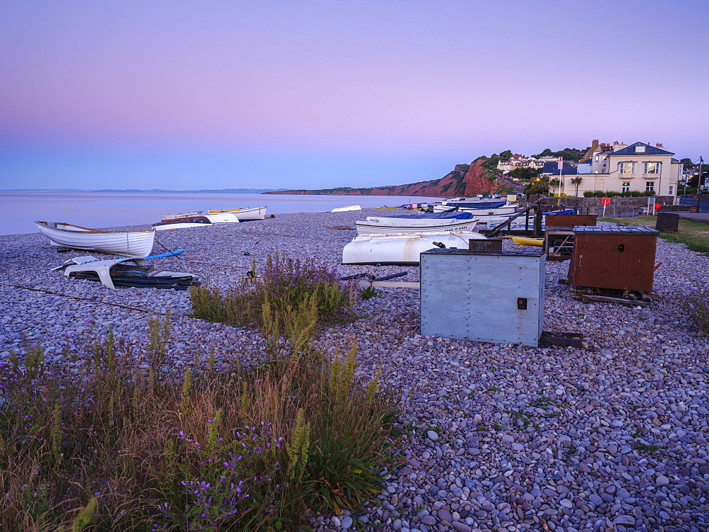 A lilac twilight with boats on the pebbled beach at Budleigh Salterton, Devon, England, United Kingdom, Europe - 1295-71