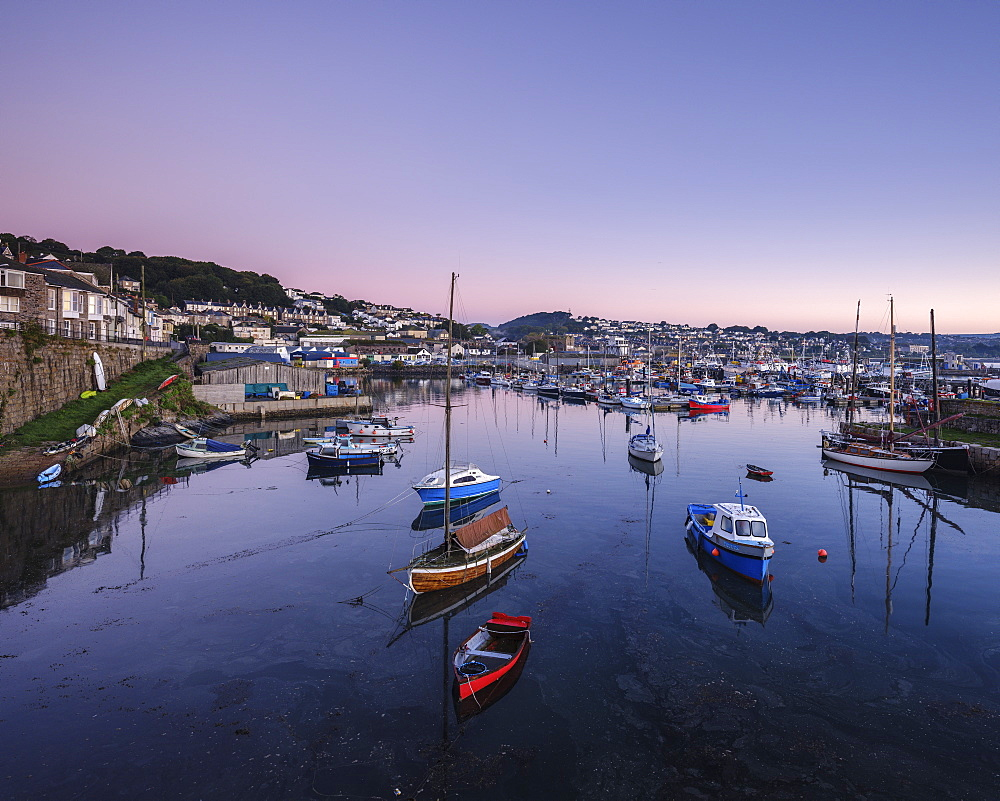Twilight looking across the inner harbours at the fishing port of Newlyn, Cornwall, England, United Kingdom, Europe - 1295-84