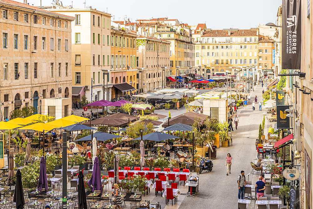 Outdoor Cafes in Marseille, Bouches du Rhone, Provence, Provence Alpes Cote d'Azur, French Riviera, France, Mediterranean, Europe - 1297-1013