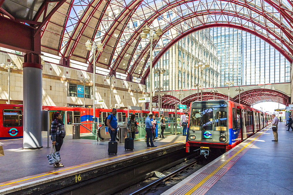 Canary Wharf DLR train station in Canary Wharf in London, England, United Kingdom, Europe