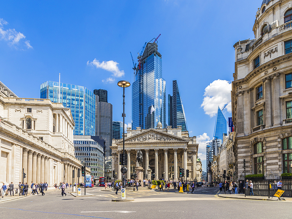 View of Bank Junction including the Royal Exchange in the City of London, London, England, United Kingdom, Europe