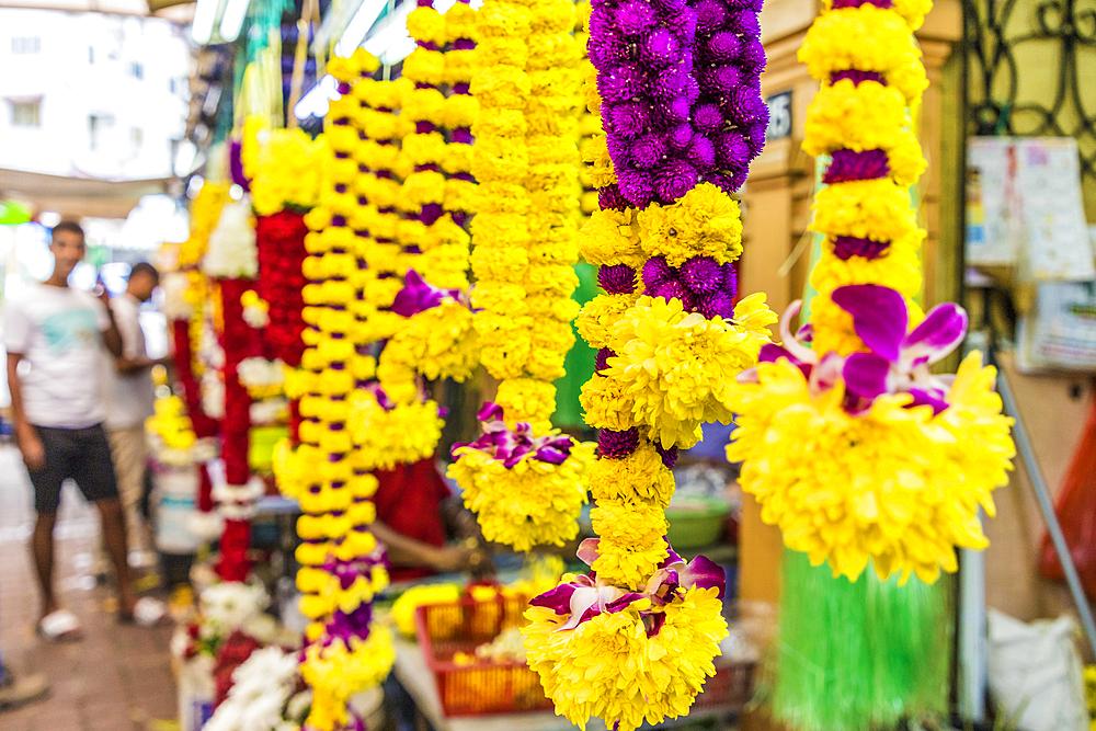 Colourful garland stalls in Little India in Kuala Lumpur, Malaysia, Southeast Asia, Asia