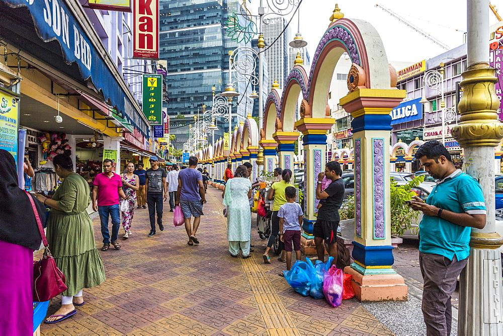 Colourful street scene in Little India in Kuala Lumpur, Malaysia, Southeast Asia, Asia - 1297-1086