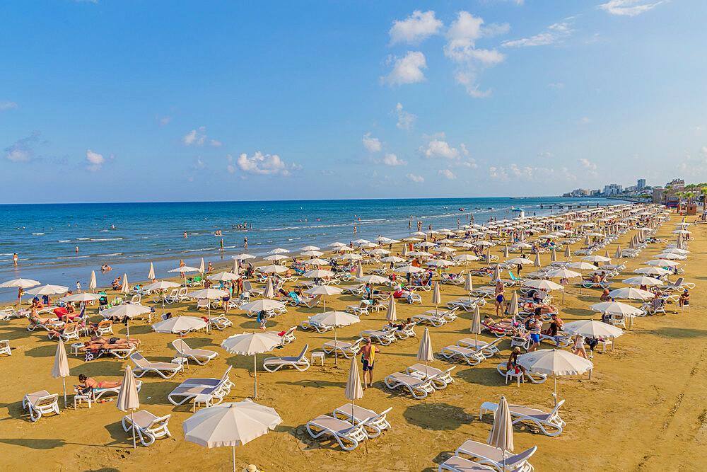 Finikoudes Beach in Larnaca, Cyprus, Europe. - 1297-1096