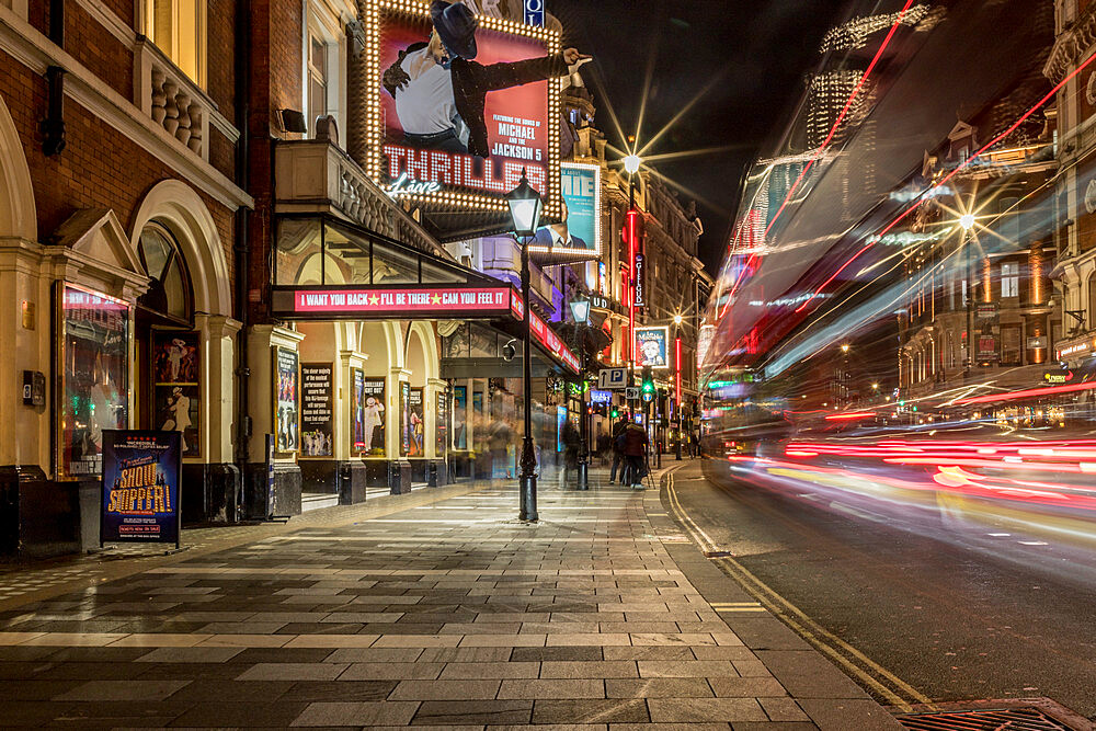 Shaftsbury Avenue light trails at night in London, England, United Kingdom, Europe