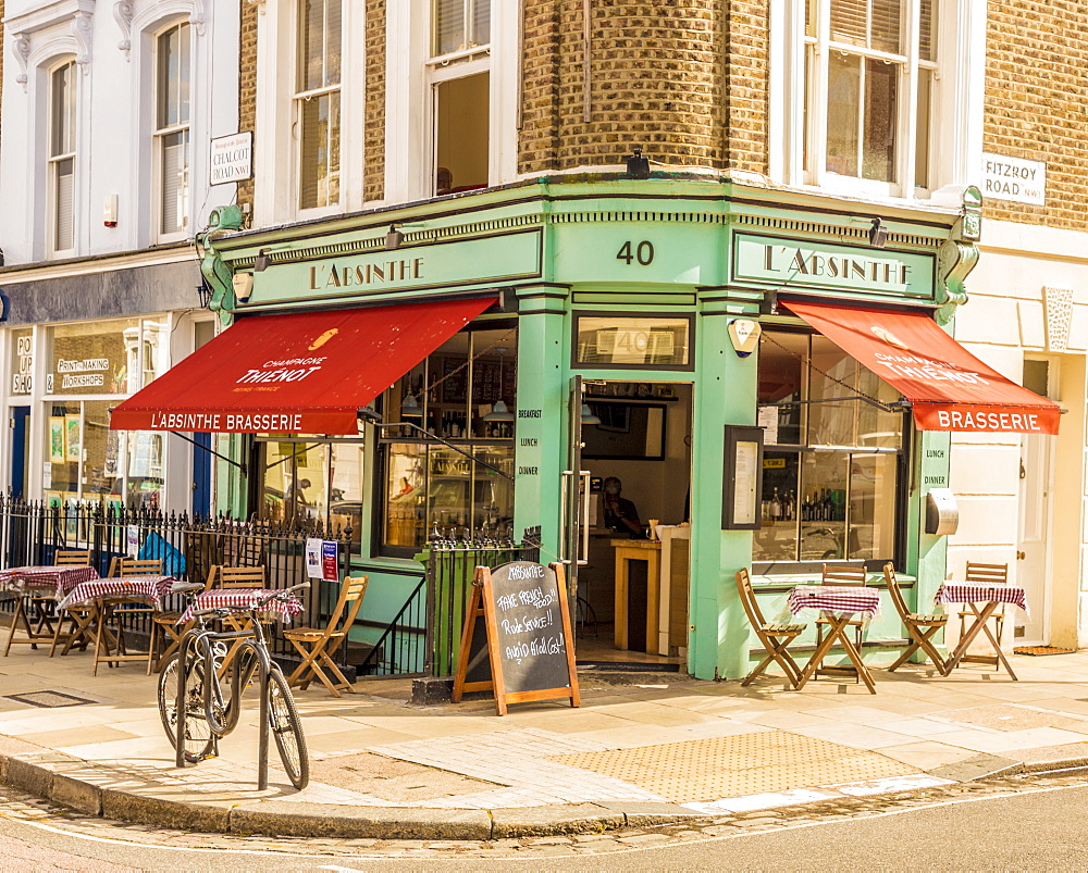 The pretty L' Absinthe restaurant and coffee shop in Primrose Hill, London, England, United Kingdom, Europe