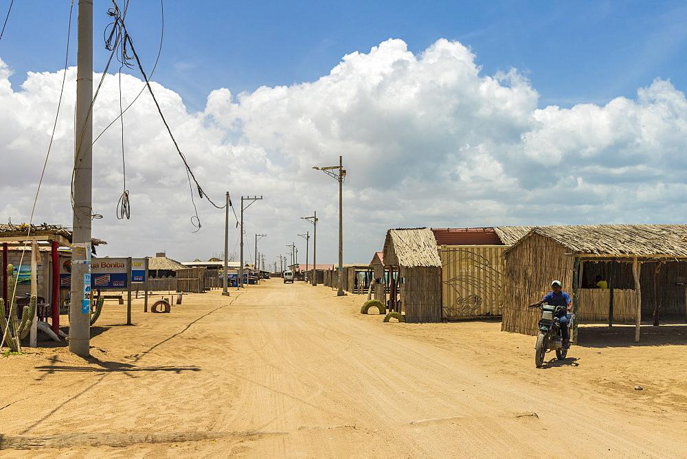 The main street in Cabo de la Vela, Guajira, Colombia, South America