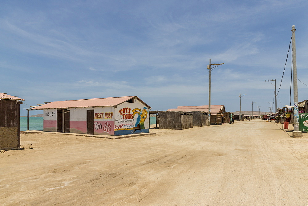 The main street in Cabo de la Vela, Guajira, Colombia, South America.