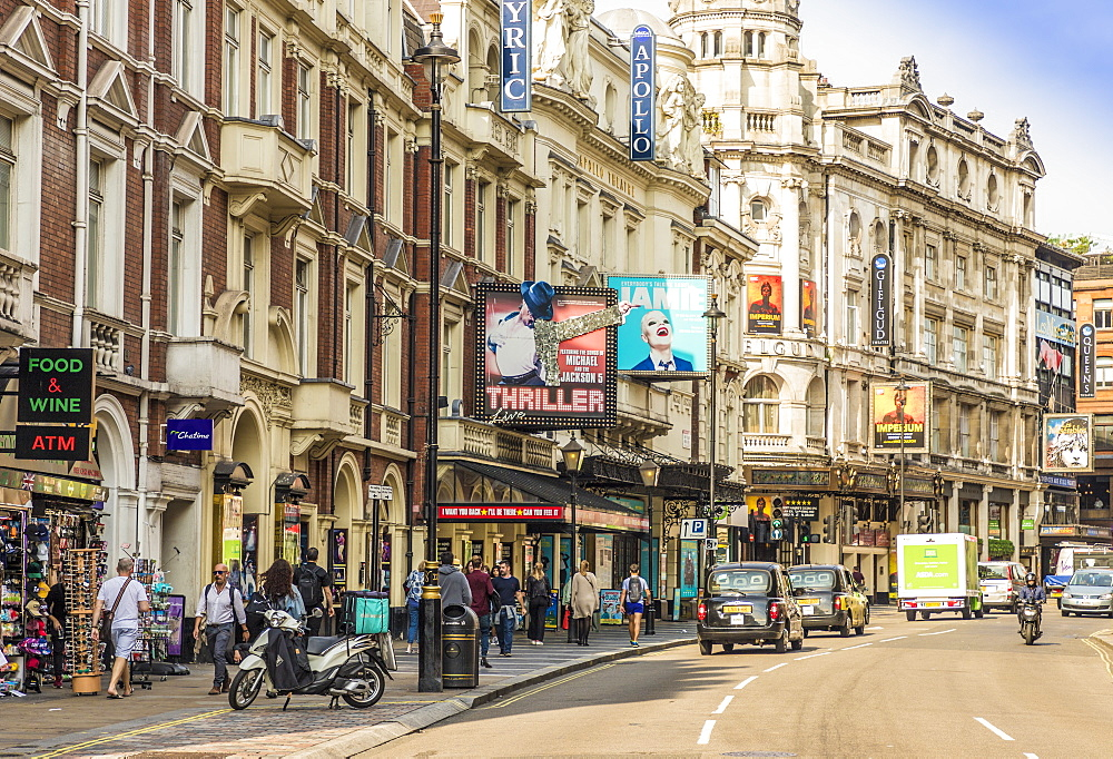 A view of Shaftsbury Avenue in theatreland, in Soho, London, England, United Kingdom, Europe. - 1297-210