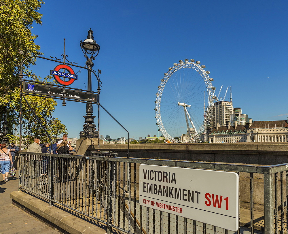 The London Eye from Victoria Embankment, London, England, United Kingdom, Europe