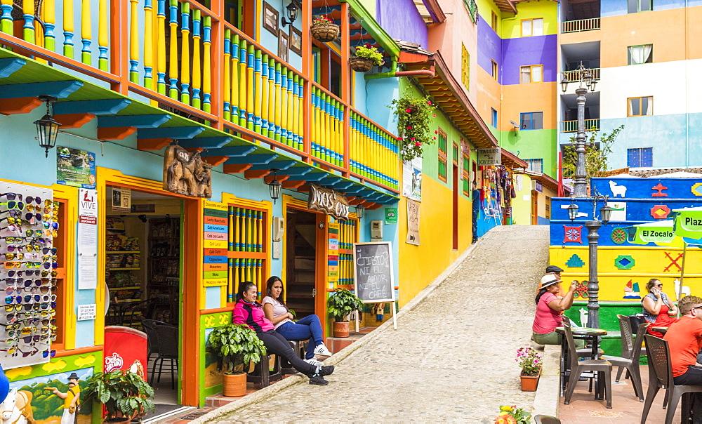 A colourful street scene in Guatape, Colombia, South America - 1297-295