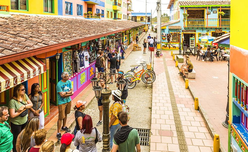 A colourful street scene in Guatape, Colombia, South America.