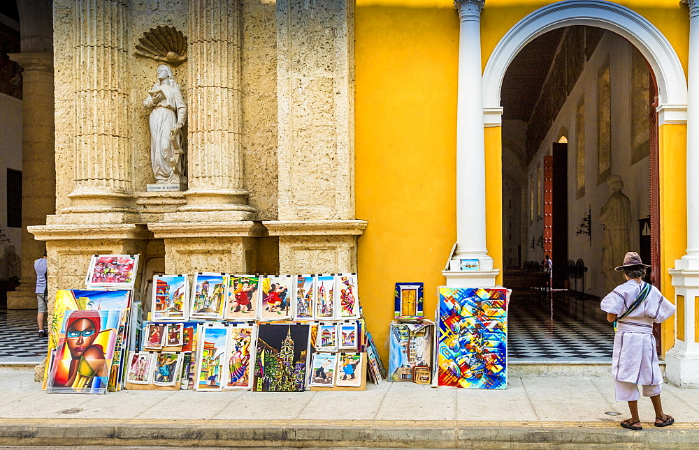 Art for sale outside the Cathedral of Cartagena, Cartagena de Indias, Colombia, South America