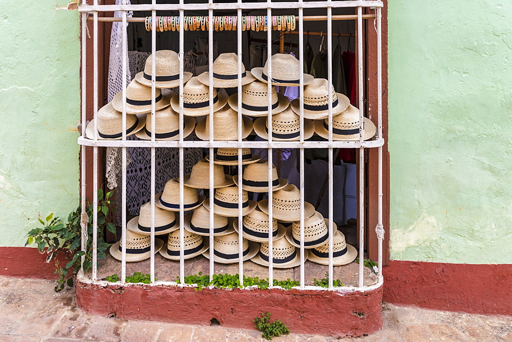 Souvenir hats for sale in Trinidad, Cuba, West Indies, Caribbean, Central America