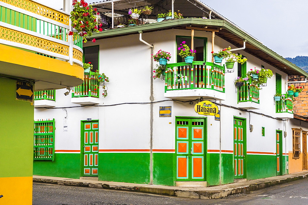 Colourful balconies and architecture in Jardin, in Colombia, South America.