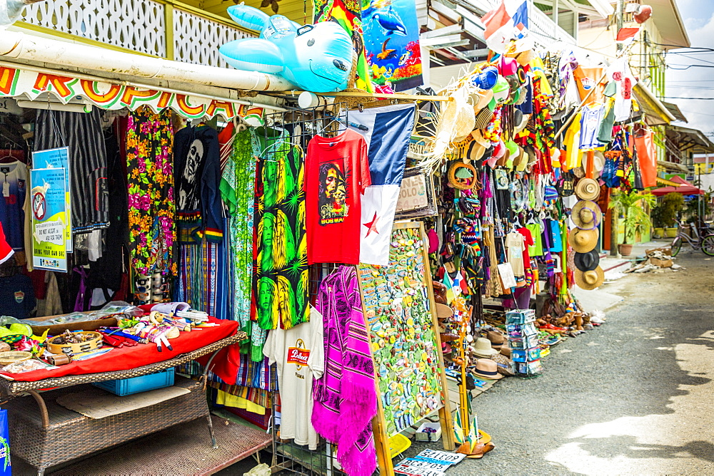 A colourful souvenir stall in Bocas del Toro, Panama, Central America