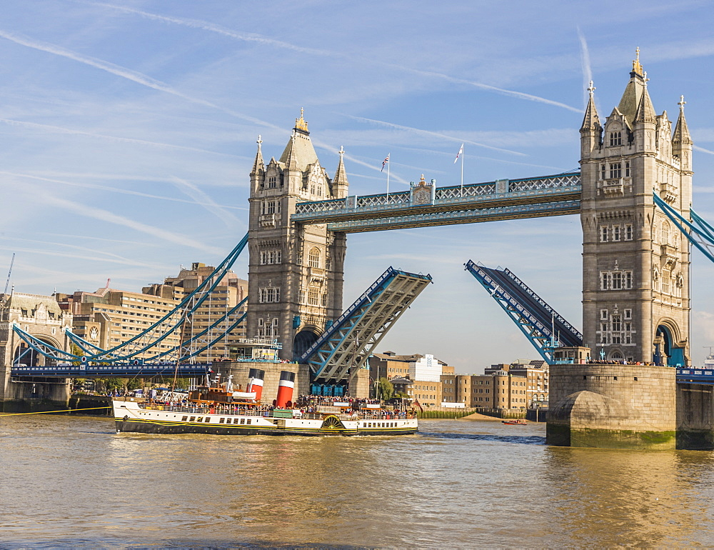 Tower Bridge being raised, London, England, United Kingdom, Europe