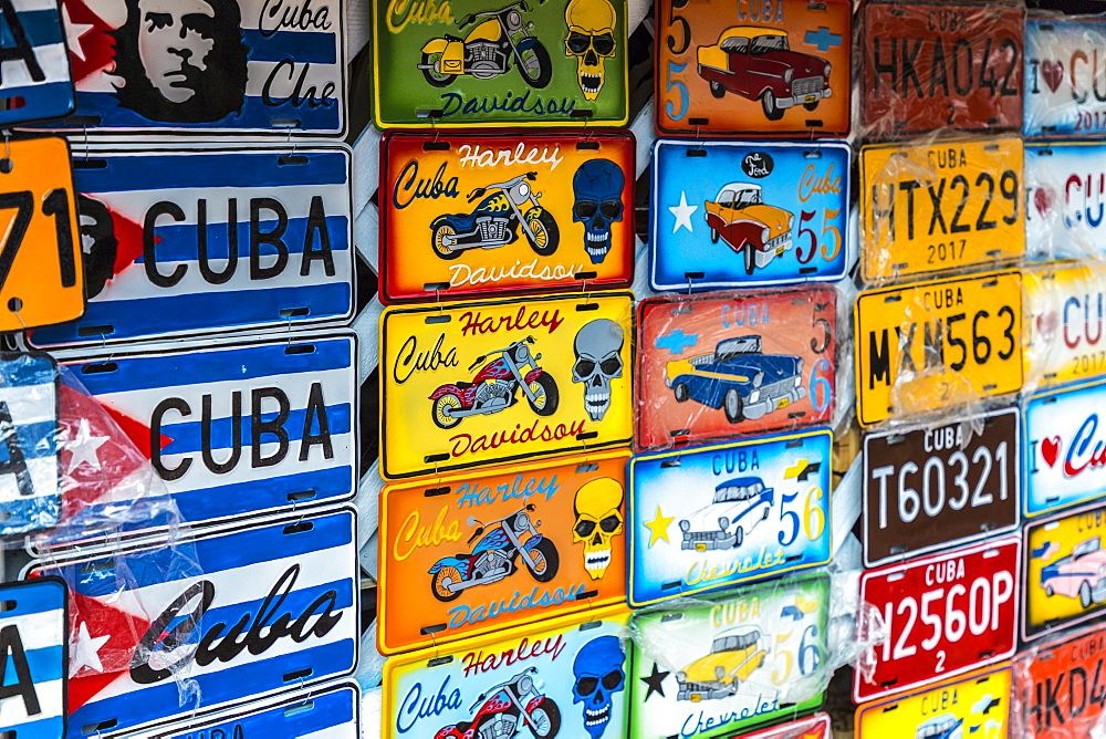Colourful souvenirs for sale in a market in Havana, Cuba, West Indies, Caribbean, Central America