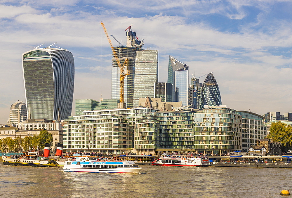 The City of London skyline from the River Thames, London, England, United Kingdom, Europe