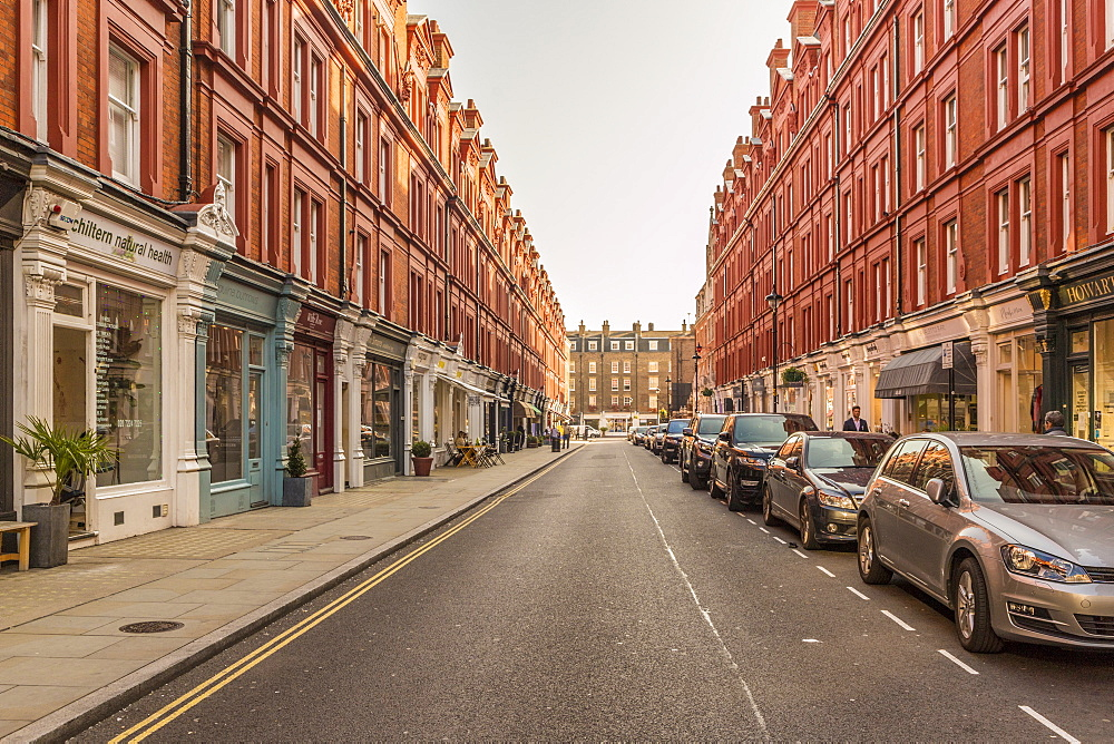Chiltern Street in Marylebone, with its distinctive red brick buildings, in London, England,United Kingdom, Europe.