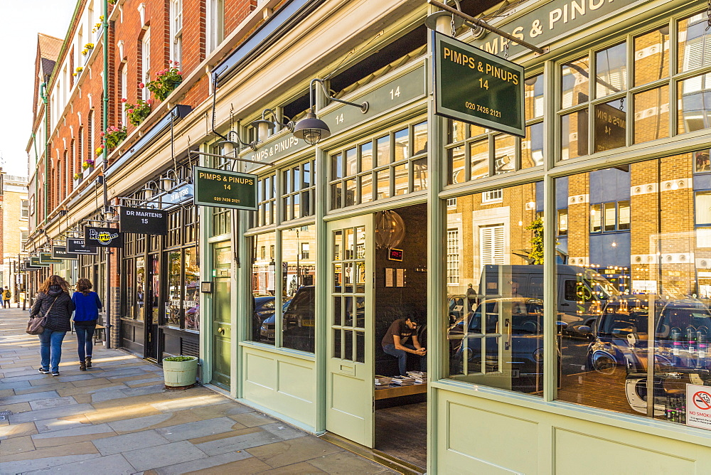 A beautiful street and stores around the Old Spitalfields Market, London, England, United Kingdom, Europe