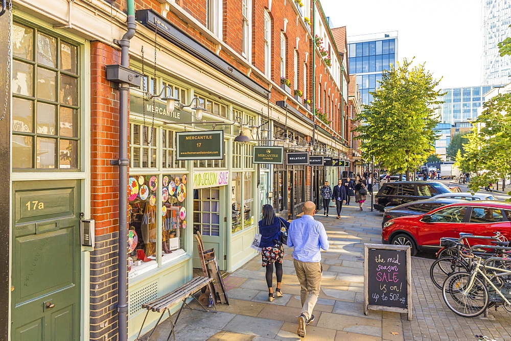 A beautiful street and stores around the Old Spitalfields Market in London, England, United Kingdom, Europe. - 1297-387