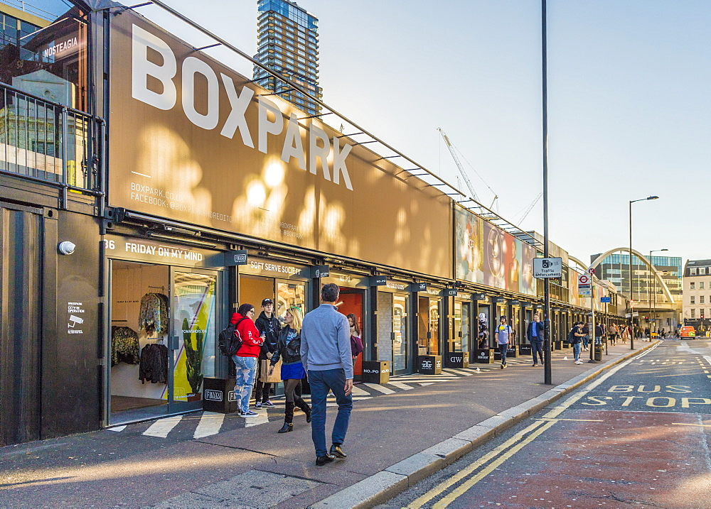 Boxpark Shoreditch, a shopping mall made from shipping containers, in London, England, United Kingdom, Europe. - 1297-394