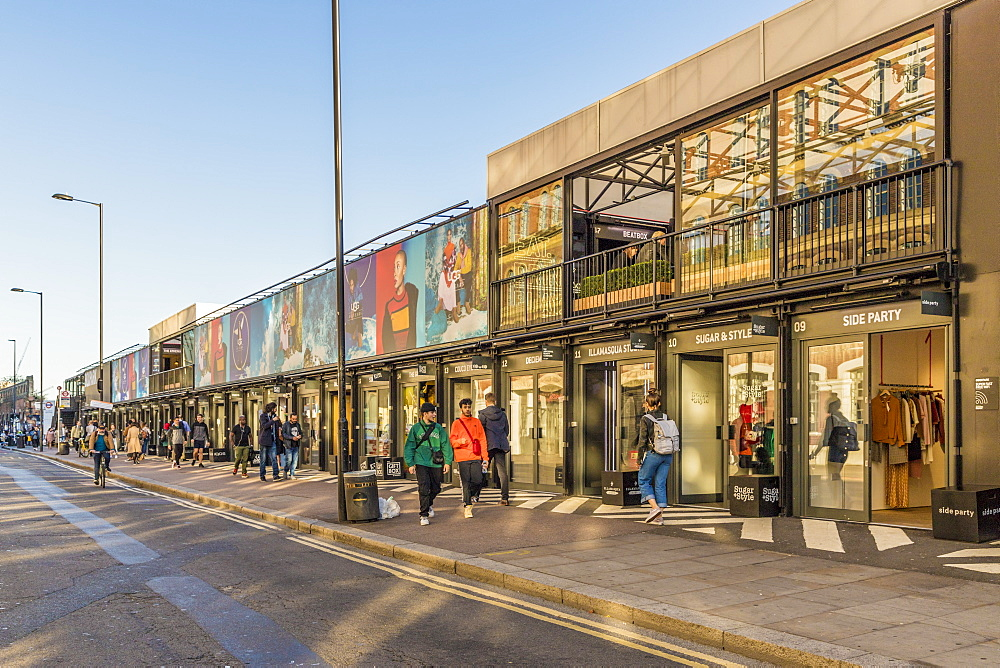 Boxpark Shoreditch, a shopping mall made from shipping containers, in London, England, United Kingdom, Europe.