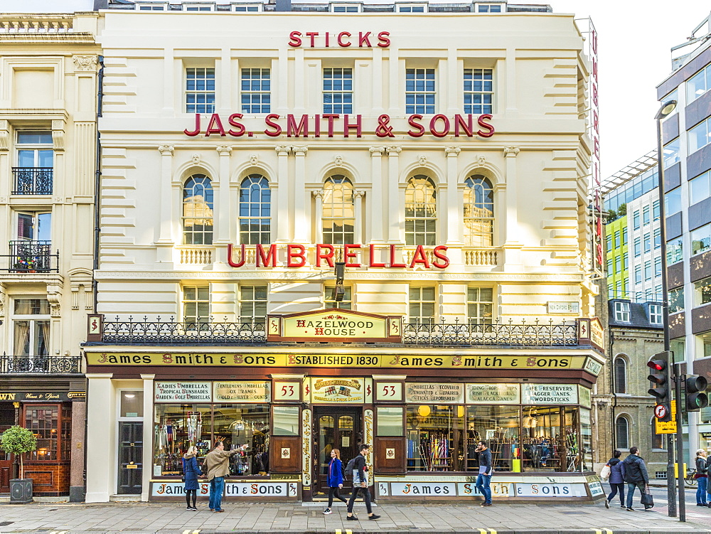 The Victorian shop front of James Smith and Sons Umbrellas, London, England, United Kingdom, Europe - 1297-454