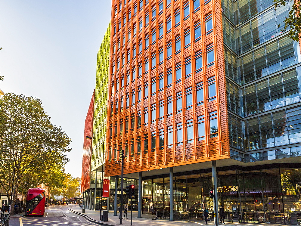 The colourful architecture of Central St. Giles in London, England, United Kingdom, Europe.