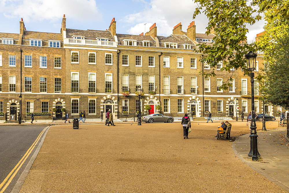 The beautiful Georgian architecture in Bedford Square in Bloomsbury in London, England, United Kingdom, Europe. - 1297-462
