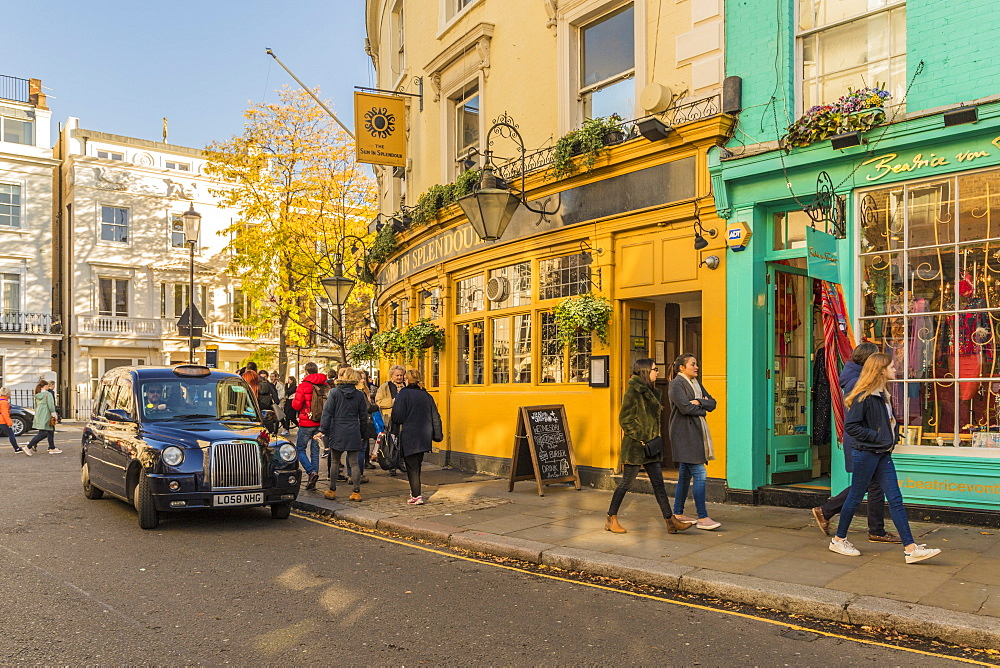 A street scene on Portobello Road, in Notting Hill, in London, England, United Kingdom, Europe. - 1297-475