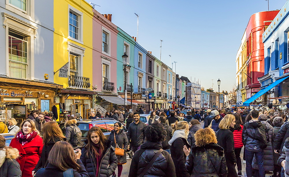 Portobello Road market, in Notting Hill, in London, England, United Kingdom, Europe. - 1297-476