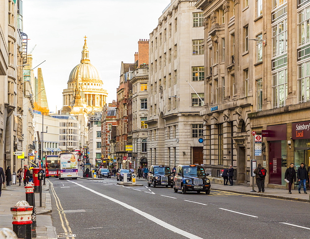 A view of Fleet Street, with St Pauls Cathedral, in the background, in London, England, United Kingdom, Europe. - 1297-495