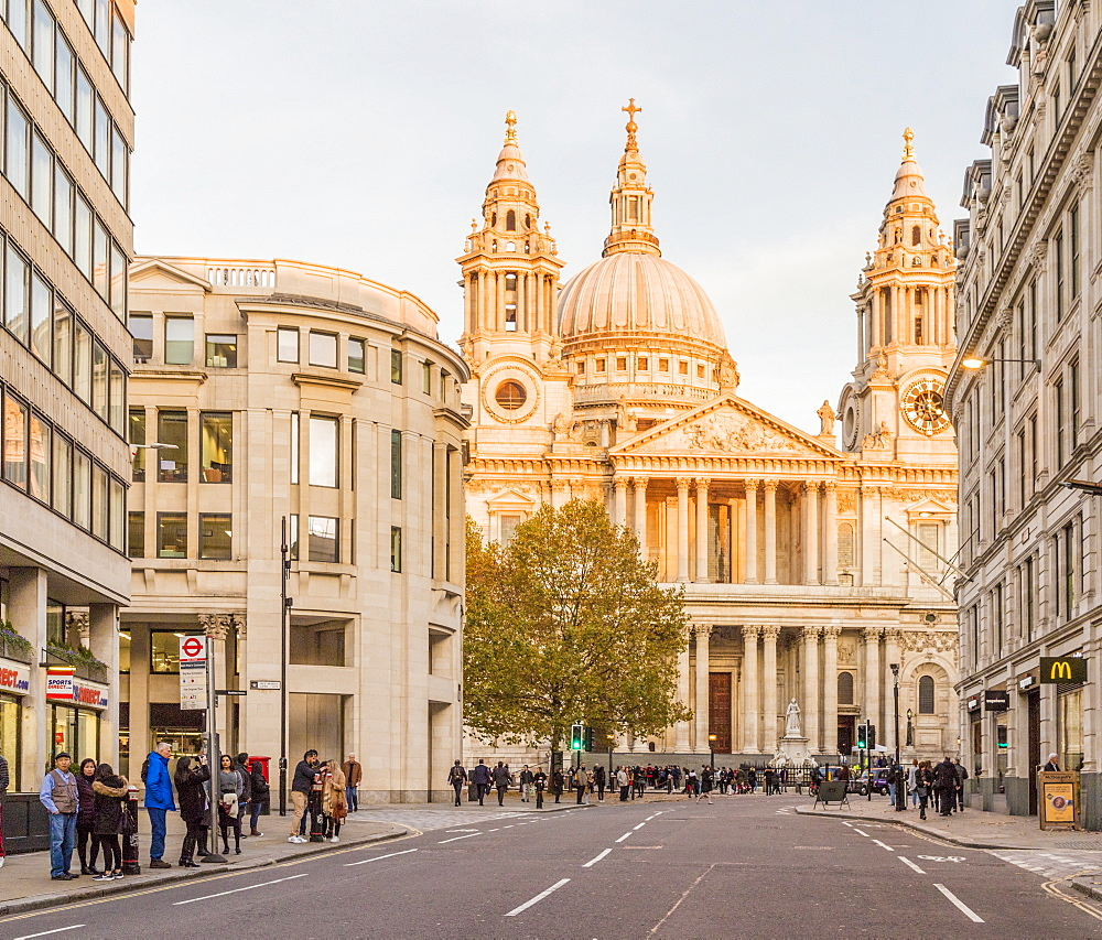 St Paul's Cathedral, in afternoon sunlight, in the City of London, in London, England, United Kingdom, Europe. - 1297-496