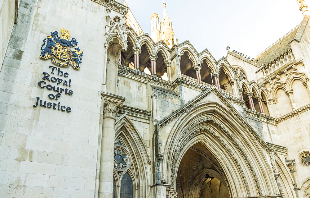The Royal Courts of Justice in London, England, United Kingdom, Europe.