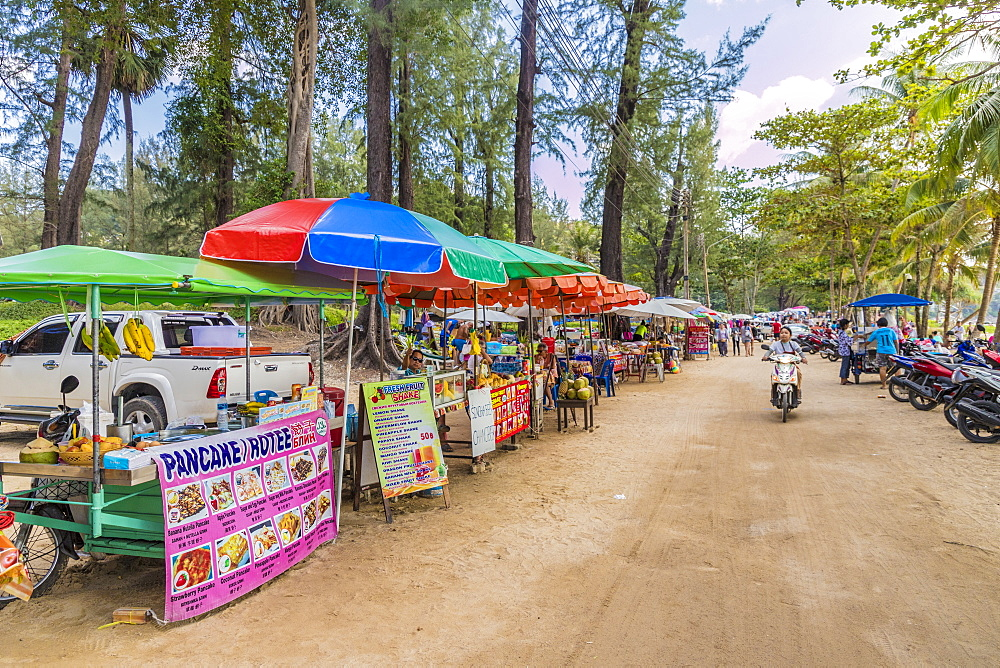 Food stalls at Surin beach in Phuket, Thailand, Southeast Asia, Asia