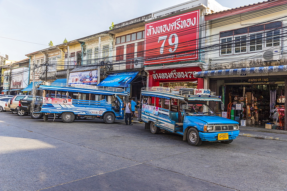 Local bus transport in Phuket old town, Phuket, Thailand, Southeast Asia, Asia